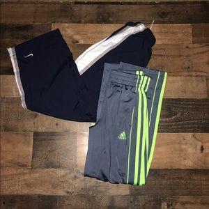 Nike adidas boys basketball track pants medium